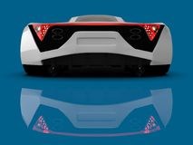 White racing concept car. Image of a car on a blue glossy background. 3d rendering. White racing concept car. Image of a car on a blue glossy background. 3d Royalty Free Stock Photography