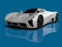 White racing concept car. Image of a car on a blue glossy background. 3d rendering. White racing concept car. Image of a car on a blue glossy background. 3d Stock Images