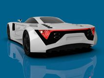 White racing concept car. Image of a car on a blue glossy background. 3d rendering. White racing concept car. Image of a car on a blue glossy background. 3d Stock Photography