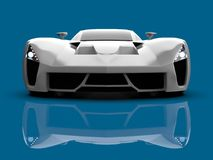 White racing concept car. Image of a car on a blue glossy background. 3d rendering. White racing concept car. Image of a car on a blue glossy background. 3d Stock Photos
