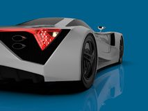 White racing concept car. Image of a car on a blue glossy background. 3d rendering. White racing concept car. Image of a car on a blue glossy background. 3d Stock Image