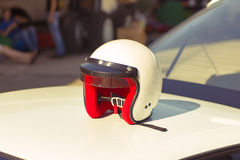 White racing helmet Royalty Free Stock Photo