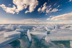 White сracked ice. On the Baikal lake Royalty Free Stock Photo