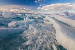 White сracked ice. On the Baikal lake Stock Image