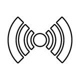 white radar icon with circle and stripes, graphic Stock Photo