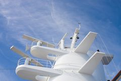 White Radar Tower On A Cruise Ship Royalty Free Stock Photos