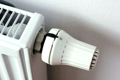 White radiator heater in detail. Heating and cooling concept, seasonal background Stock Images