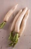 White radish on wooden background. White radish on the wooden background Royalty Free Stock Image