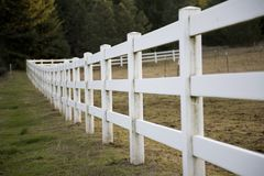 White rail fence. In evening light stock photos