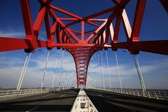 Red domed steel bridge royalty free stock photo