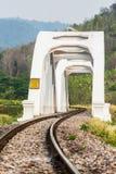White railway bridge in lumphun Thailand.  Stock Image