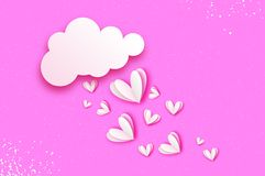 White rain of heart. Love with paper cut flying hearts. Romantic Invitation card. Origami Cloud. Happy Valentine`s day Stock Image