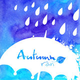 White rain and umbrella on watercolor painted Stock Images