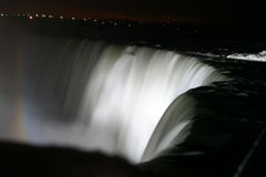 White Rainbow Falls. Niagara Falls at Night - White Water Rainbow royalty free stock photos