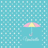 White raindrop and sweet umbrella on blue sky background Stock Photos
