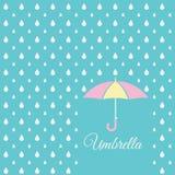 White raindrop and sweet umbrella on blue sky background Stock Photos