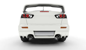 White Rally Car - Rear View Royalty Free Stock Photos