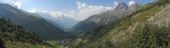 White range mounts, Balme pass. White range mounts - Balme pass - France - The Alps - Panorama Stock Photo