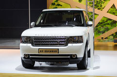 White Range Rover suv front Stock Images
