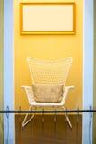 White rattan wicker chair stock image