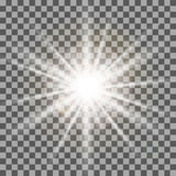 White rays light effect isolated on transparent background. vector illustration