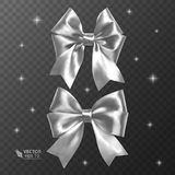 White, realistic vector bows on a transparent background Stock Images