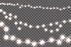 White realistic Christmas lights decorations set isolated on transparent background. For greeting cards. Vector illustration royalty free illustration
