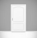 White realistic closed door in empty room interior Stock Image