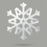 White realistic folded paper Christmas snowflake with shadow isolated on transparent background. EPS 10 vector illustration