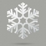 White realistic folded paper Christmas snowflake with shadow isolated on transparent background. EPS 10 royalty free illustration
