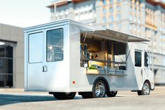 White food truck with detailed interior on street. Takeaway. 3d rendering. royalty free stock images