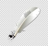 White realistic Ink feather pen and ink splatter. On transparent background. Vector object, clip art, icon, logo, symbol of literature and education. Ancient stock illustration