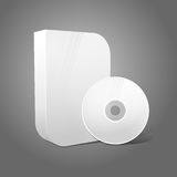 White realistic isolated DVD, CD, Blue-Ray smooth. Shaped case with DVD, CD disk on grey background. With place for your text and pictures. Vector illustration Stock Photo