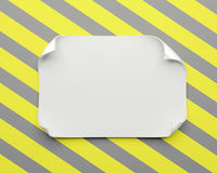 White realistic paper sheet with curved corners and soft shadow on constructing yellow gray background. Paper note vector illustration