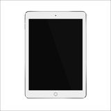 White realistic smart tablet with blank black screen. Vector illustration eps 10 Royalty Free Stock Photos