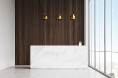 White reception dark wooden panel. White reception table with a paper coffee cup standing in a hall of office with a conference room. Dark wooden panel. 3d Stock Photo