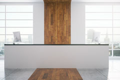 White Reception Desk In Wooden Interior Stock Image