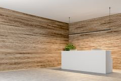 Free White Reception In A Wooden Wall Office Corner Royalty Free Stock Photography - 116971317