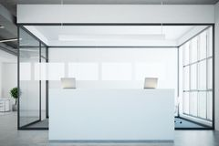 White reception near a conference room, glass Stock Photos