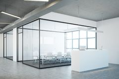 White reception near a conference room, side Stock Photo