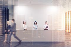 White reception in a white office lobby toned Royalty Free Stock Photo