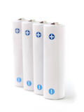 White rechargeable AA batteries on white background Royalty Free Stock Photo