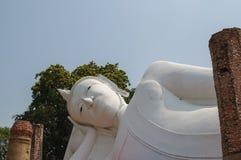 White  reclining Buddha. With blue sky Royalty Free Stock Photo