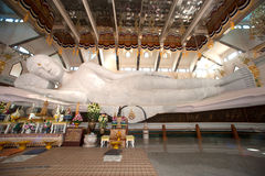 White Reclining Buddha in Wat Pa Phu Kon,Northeastern of Thailand. Stock Image