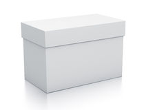 White rectangle gift box from close up left view. Royalty Free Stock Photo