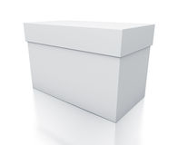 White rectangle gift box from close up right view. Stock Photo
