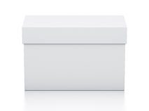 White rectangle gift box from front view. Royalty Free Stock Image