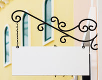 White rectangle shop sign Royalty Free Stock Image