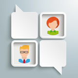 2 White Rectangle Speechbubbles 2 Frames People. 2 rectangle speech balloons with humans on the gray background Royalty Free Stock Images
