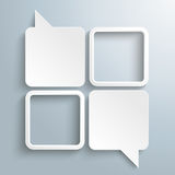 4 White Rectangle Speechbubbles 2 Frames. 4 rectangle speech balloons on the gray background Royalty Free Stock Images
